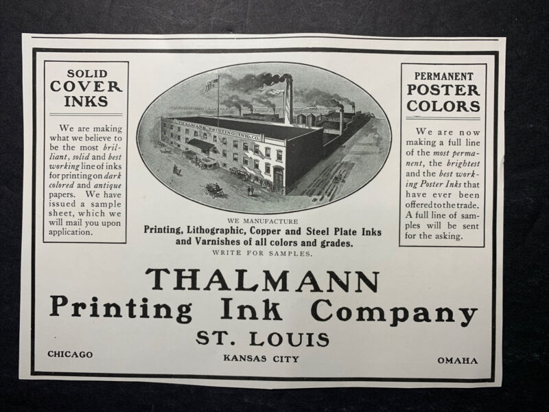 Thalmann Printing Litho Ink GRAPHIC Ad 1910 St Louis Original Kansas City Omaha