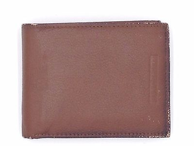 $75 PERRY ELLIS MEN BROWN LEATHER PASSCASE DOUBLE BIFOLD  INSERT CARD WALLET
