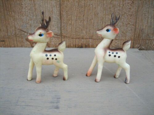 2 - Vintage Poseable Soft Rubber Plastic Reindeer - Japan