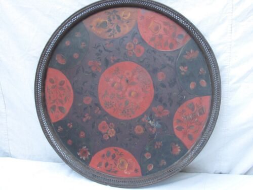 Antique Hand Painted Round Metal Toleware Large Early Tray