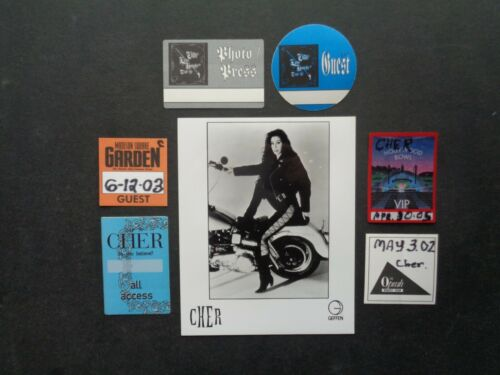 CHER,8x10 B/W Promo Photo,6 Original Backstage passes,Various tours