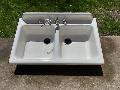 Vintage 1940 Cast Iron Porcelain Kitchen Utility Sink