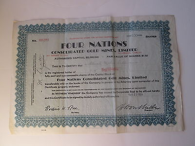1  Four Nations Consolidated Gold Mines Limited  Stock Certificate  100 Shares