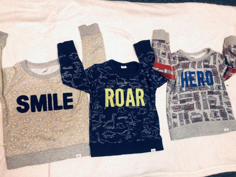 Lot of 3  Crew Neck Pullover Sweatshirt Gap Boy Size 3 Hero | Smile | Roar |
