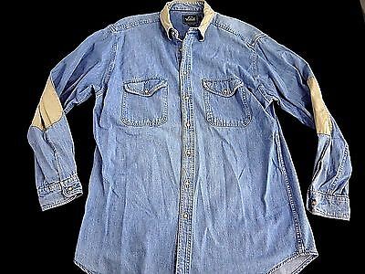 VINTAGE WOOLRICH denim shirt mens L jean work wear rockabilly MADE in USA