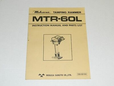 Mikasa Mtr-60l Tamping Rammer - Instruction Manual Parts List