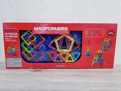 Magformers Magnetic Construction Set 43 Pieces 4 Geometric Shapes Rainbow NIB 43 Geometric Shapes