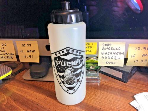 """OAKWOOD PD OHIO Beverage Water Bottle ~ 9 1/4"""" tall"""