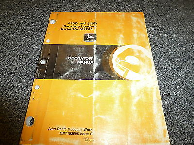 John Deere 410d 510d Backhoe Loader Owner Operator Maintenance Manual Omt152596