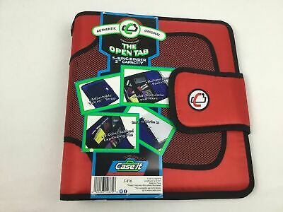 Case-it Red Open Tab 3 Ring Binder 2 Inch Capacity Pocket Holders Tabbed Files