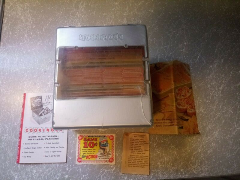 Vintage Cook Index Recipe Box with Over 100 Recipes and magazine cut outs