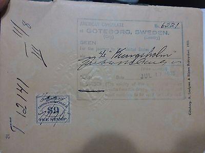 VINTAGE PASSPORT SWEDEN 1923 USA VISA FISCAL CONSULAR STAMP REISEPASS # 997