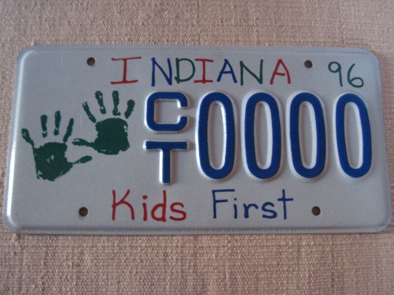 Indiana 1996 Kids First sample license plate. Nice
