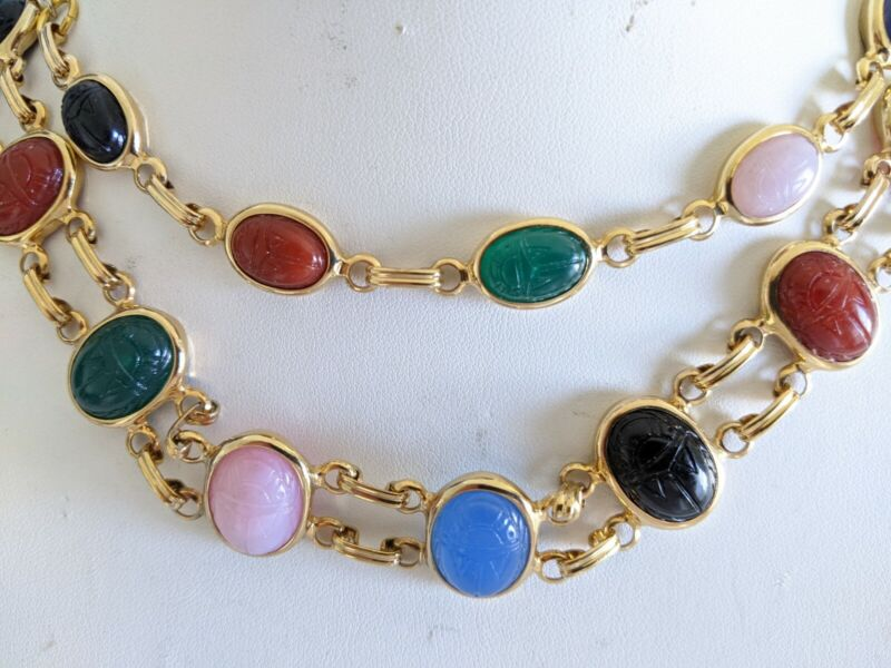 Vintage Colorful Lucite Egyptian Scarab Necklace Bracelet Set