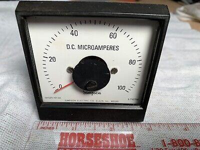 Simpson Vintage Dc Microamperes 0-100 Panel Meter