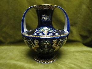 """Gien faience 2 handles vase blue renaissance pattern (renaissance bleue) - France - Commentaires du vendeur : """"very good condition"""" - France"""