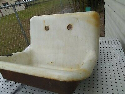 Vtg Cast Iron White Porcelain Single Basin Kitchen Farm Sink Tub Basin