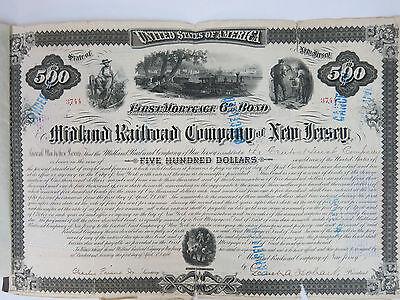 Midland Railroad Co of NJ $500 1st Mortgage 6% Gold bond. 3744 cancelled