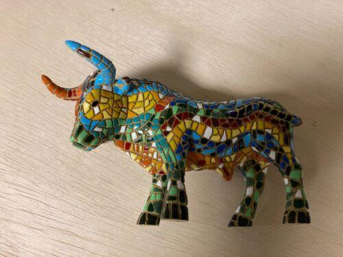 "Barcino Mosaic Bull Toro Spain Figurine Sculpture Statue 6"""