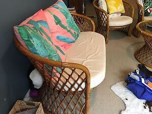 Cane lounge / one double and two single seats with cream cushions Newport Pittwater Area Preview