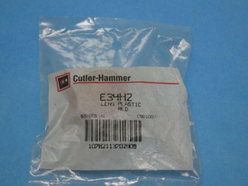 Cutler Hammer E34H2 Pilot Light Push Button Lens Red Plastic New