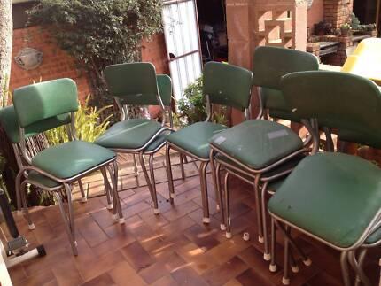 12 CHROME VINYL VINTAGE KITCHEN CHAIRS 60's ORIGINAL BENDIX GREEN