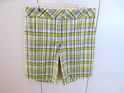 Izod Golf Shorts White Green Lav Plaid   Size 8  NWOT