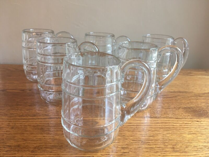 SET OF 6 Clear Glass/Crystal Beer Keg Mugs; 14-oz; FREE SHIP