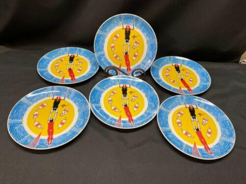 "Set of 6 ~ Georges Briard ""CIRCUS"" Salad / Dessert Plates ~ 7 3/4"""