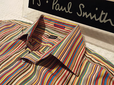 "PAUL SMITH Mens Shirt 🌍 Size 15"" (CHEST 42"") 🌎RRP £95+ 📮 ICONIC MULTI STRIPES"