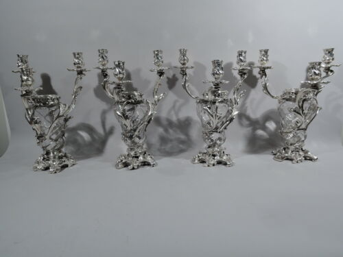 Antique Vases - Set 4 Candelabra - French 950 Silver Crystal - Baccarat Aucoc