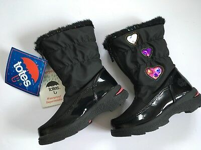 TOTES KIDS Boots Black Patent with Pink Purple & White Hearts Faux Fur Size 9Tm - Childrens Pink Patent Boots