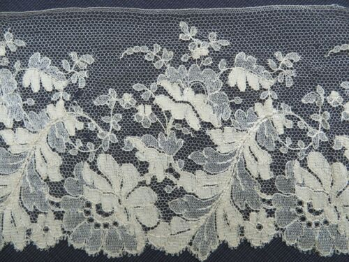 "Antique Wide French SILK Blond Chantilly LACE 5""X172"" Flounce Trim Victori"