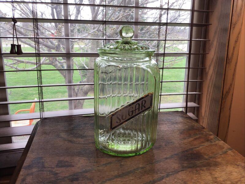 Rare Vintage Hoosier Style Ribbed Vaseline Glass Sugar Cannister Jar