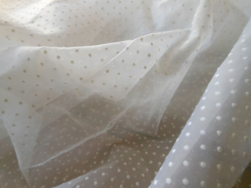 Vintage French Pure White Swiss Dot Fabric ~  dolls bears apparel home BTY