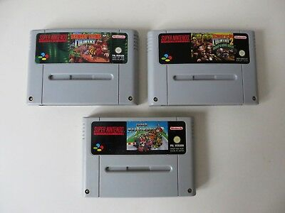 3 Super Nintendo Spiele: Mario Kart & Donkey Kong Country 1 + 2 SNES for sale  Shipping to South Africa