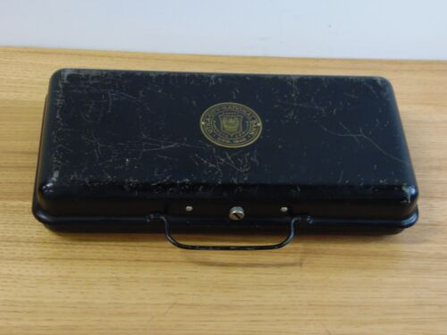 Antique UTICA-City-National Bank ORG. 1848 -Safety Deposit Metal Money Box
