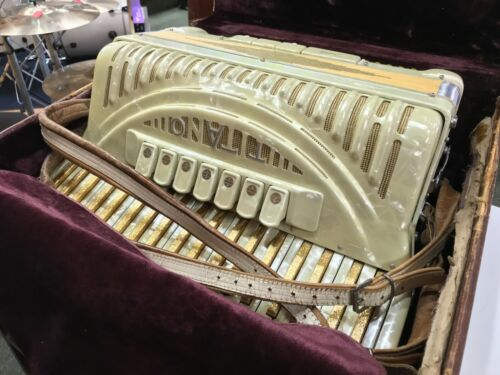 "Titano Vintage Accordion Grand 17"" 7 Stops Gold Keys Made In Italy With Case"
