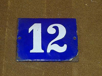 12 Hausnummer original altes Emailschild Blau weiß Nummer 12