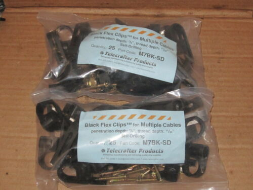 """Telecrafter M7BK-SD Black Flex Clips for Multiple Cables 7/8"""" (2) bags of 25 pcs"""