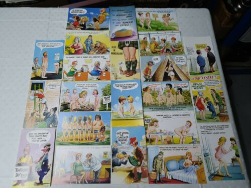 Job Lot 22 Vintage Seaside Humour Comic Postcards all unused (L4)