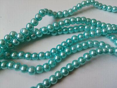 Perlas cristal nacarado 4 mm X 100 UNIDADES color azul turquesa abalorios