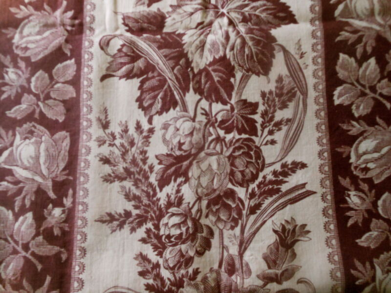 Antique 19th French Botanical Artichoke Acanthus Roses Cotton Fabric ~ Mulberry