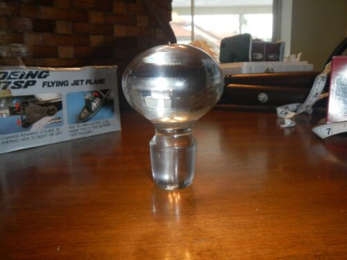 vintage large heavy clear glass ball decanter bottle stopper