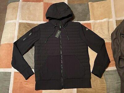 Moose Knuckles black pellican puffer hoodie hybrid zip hooded jacket M mens NEW