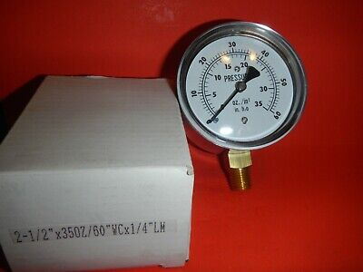 New Stainless Steel Pressure Gauge 2 12 Face 35oz60wcx14lm 0-60