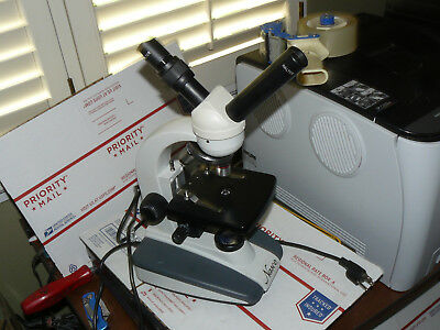 Nasco Compound Microscope Sb31362t Double 45 Degree Dual Head Works