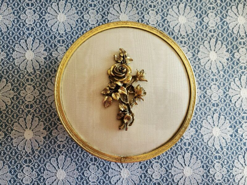 Vintage Gold Dresser Jar/Powder Box ~ Roses Pattern ~ Matson? ~ Glass Insert
