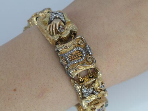 "Rare Vintage Victorian 14K Yellow Gold Duke Old Mine Diamond Charm Bracelet 7.5"""