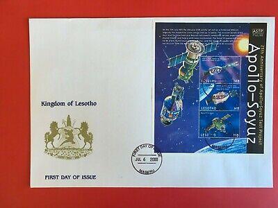 LESOTHO 2000 FDC LARGE SPACE MINISHEET APOLLO SOYUZ USA USSR ASTRONAUTS